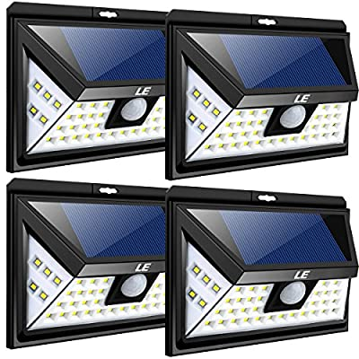 LE 44 LED Solar Lights Outdoor with Motion Sensor, 3 Optional Lighting Modes, 270 Degree Angle, Daylight White 6000K, 4W 550LM, for Garden, Fence, Yard, Driveway, Front Door and More, pack of 4