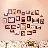 Photo Wall, 28 Frame Solid Wood Photo Wall, Love-shaped Combination Frame Wall, Living Room Large Facade Wall ( Color : 4# )