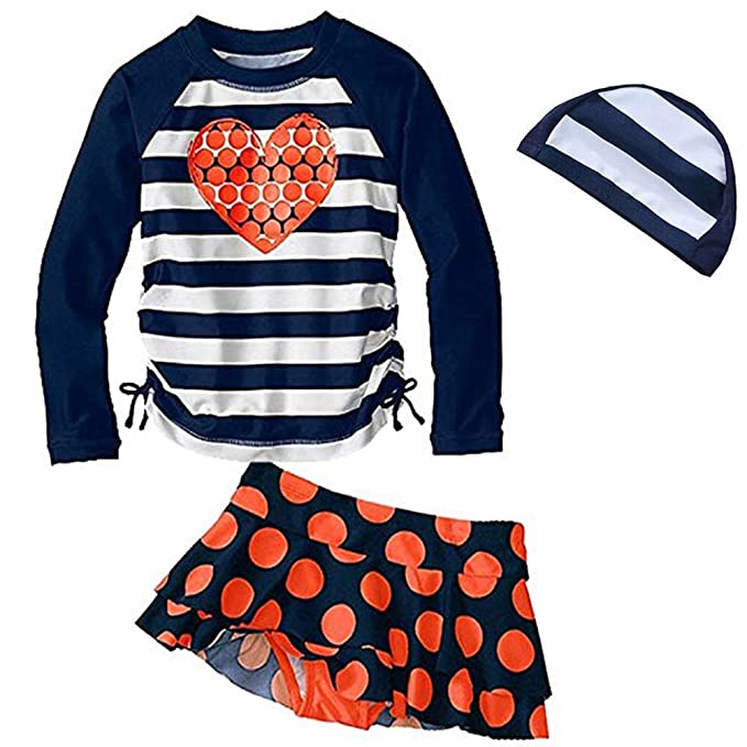 c9690d134d4c Amazon.com: Toddler Girls Two Piece Swimsuits Long-Sleeve Swimwear Set Rash  Guard UPF 50+ UV Bathing Suits with Hat: Clothing