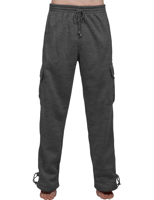 J. LOVNY Mens Comfy Elastic Drawstring Fleece Cargo Sweat Pants