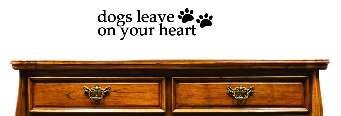 Design with Vinyl JER 1297 1 8Dogs Leave Paw Prints On Your Heart Home Decor Art Vinyl Wall Decal Black 14 x 28
