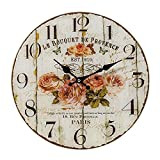 Whole House Worlds The French Country Wall Clock for Lovers, Glass, Quartz Movement, Antique Garden Café Style, Over 1 Ft In Diameter, Analog Timepiece, By