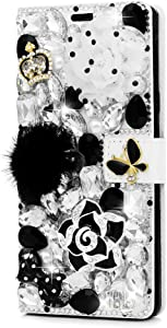 STENES Bling Wallet Case Compatible iPhone 7 Plus/iPhone 8 Plus - Stylish - 3D Handmade Camellia Flowers Crown Bowknot Leather Cover with Neck Strap Lanyard [3 Pack] - Black&White