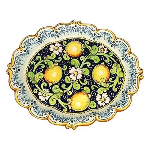 CERAMICHE D'ARTE PARRINI - Italian Ceramic Tray Serving Plate Lemons Art Pottery Paint Made in ITALY (Ceramic Lemon)
