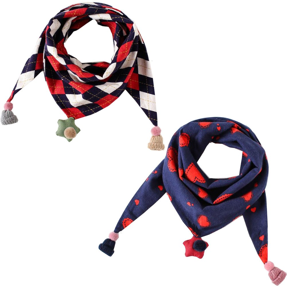 Lucky staryuan 2Pack Kids Scarf Cotton Shawl Wrap Scarves for Girls (Style 1)