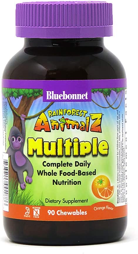 Bluebonnet Nutrition Rainforest Animalz Whole Food Based Multiple Chewable Tablets, Kid Multivitamin & Mineral, Vitamin C, D3, Iron, Gluten Free, Milk Free, Kosher, 90 Chewable Tablets, Orange Flavor