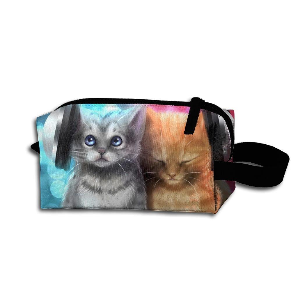 Makeup Cosmetic Bag Animals Art Kitten Zip Travel Portable Storage Pouch For Men Women