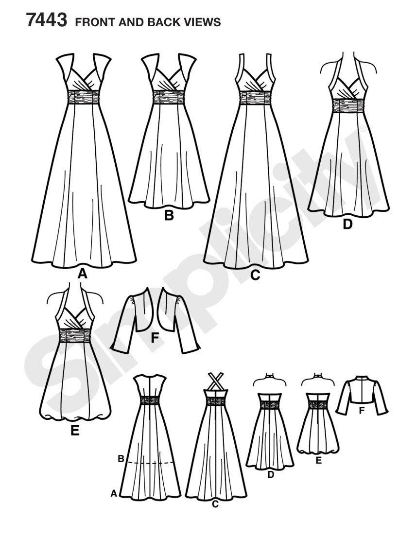 Simplicity Schnittmuster 7443 H5 Abendkleid & Bolero Gr. 32-40 ...