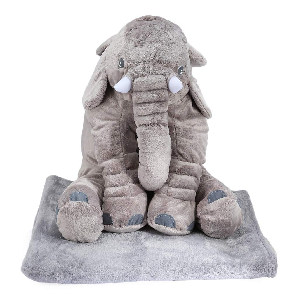 EXTOY Colorful Giant Elephant Stuffed Animal Toy Cotton Plush Animal Toy Doll Pillow with Blanket Birthday for Kids Baby Boy Must Haves Friendship Gifts Girl S Favourite by EXTOY