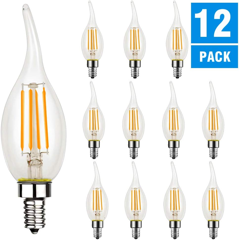 Dimmable LED Candelabra Bulb, CA11 Shape,Flame Tip Style, 60 Watt Equivalent, 2700K Soft White, E12 Base, Chandelier LED Edison Light Bulbs,CRI 90+, UL Listed LED Bulb, 12 Pack