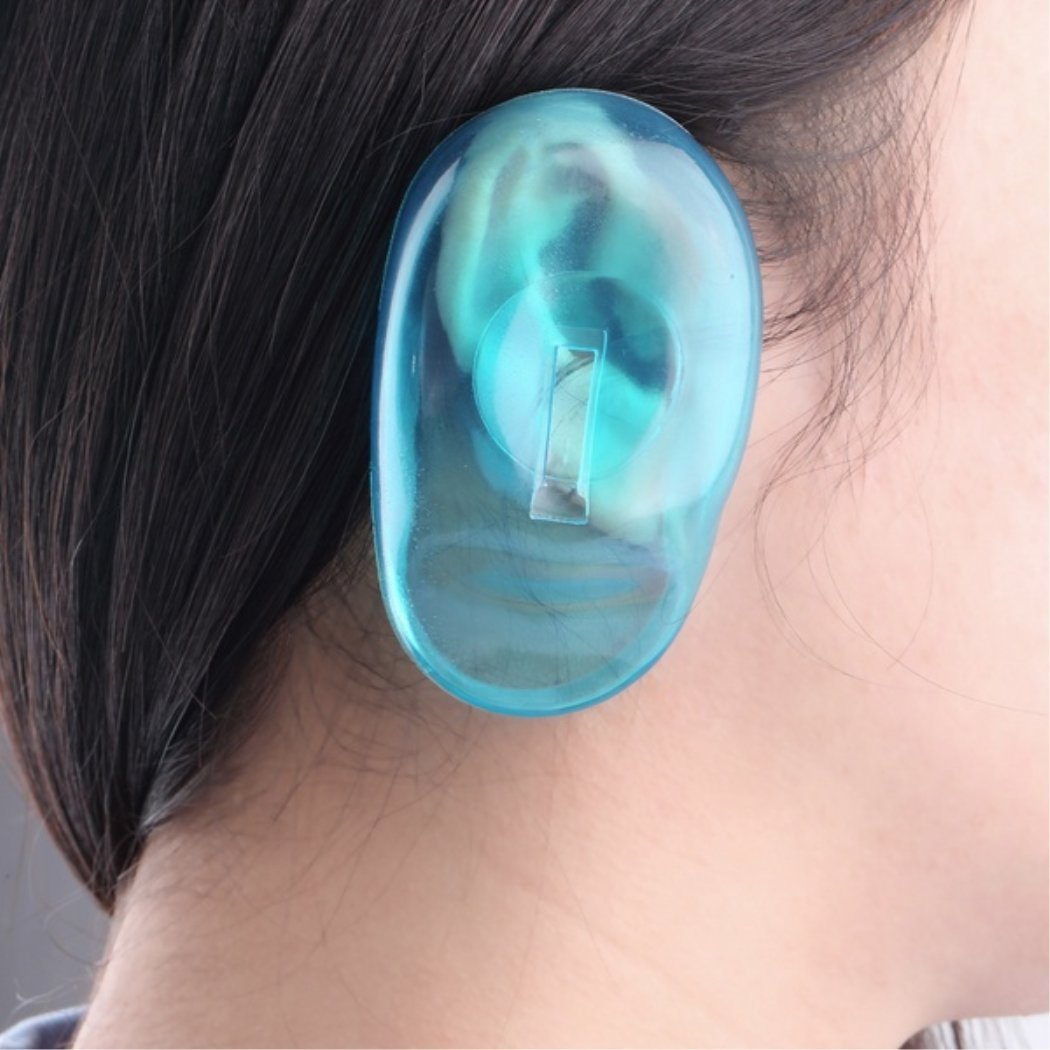 MarshLing 2PCS Clear Silicone Ear Cover Hair Dye Shield Protect Salon Color Blue Light Blue Perfect Quality