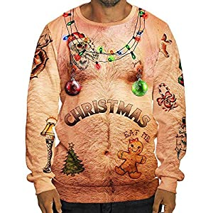 Men's Christmas Tops,HULKAY Sexy Upgrade Long Sleeve Blouses 3D Print Sweatshirt Pocket Shirt Pullover for Men(Multicolor 2,2XL)