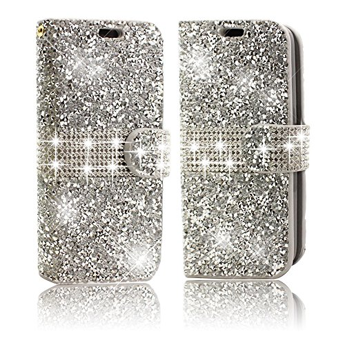 iPhone 6Plus /6S Plus CellPhone Case,Vandot Diamond Bling Shiny Shining Wallet Card Slots Case For Apple iPhone 6Plus/6S Plus 5.5 inch Crystal Rhinstone Cover PU leather Magnetic Flip Folio Stand Book Style [Perfect Fit] [Skockproof] Protective Skin Shell-Glitter Silver