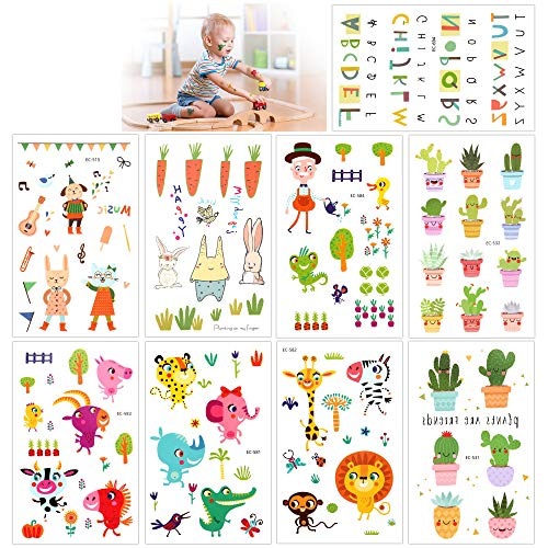 Temporary Tattoos For Kids(135Pcs), Konsait Animal Zoo Flower Plant Letter Cartoon Assorted Tattoo Stickers For Children Girls Boys, Great Kids Party Accessories Goodie Bag Stuffers Party Fillers Gift -