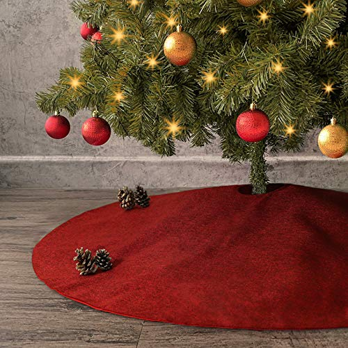 Ivenf Christmas Tree Skirt, 48 inches Large Burgundy Burlap Like Plain Xmas Tree Skirt, Rustic Xmas Tree Holiday Decorations (Skirt Christmas Red Tree Burlap)