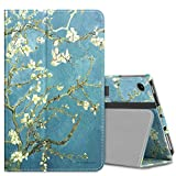 MoKo Case for All-New Amazon Fire 7 Tablet (7th Generation, 2017 Release Only) - Slim Folding Stand Cover Case for Fire 7, Almond Blossom (with Auto Wake / Sleep)