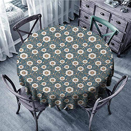 ScottDecor Waterproof Round Tablecloth Jacquard Tablecloth Vintage,Pattern of White Daisies with Swirled Stalks and Ornate Dotted Circles, Petrol Blue Brown White Diameter ()
