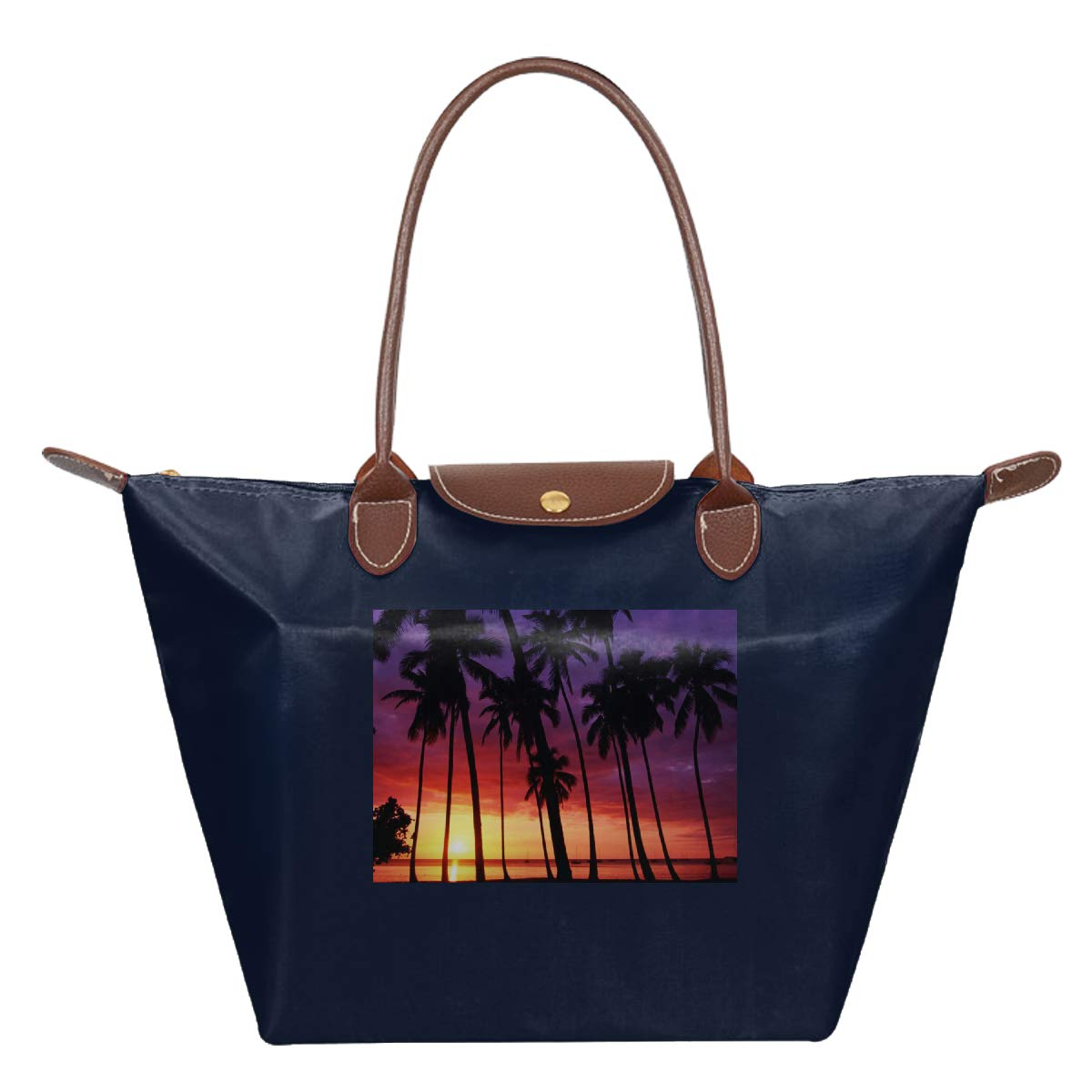 California Palm Trees Sunset Waterproof Leather Folded Messenger Nylon Bag Travel Tote Hopping Folding School Handbags