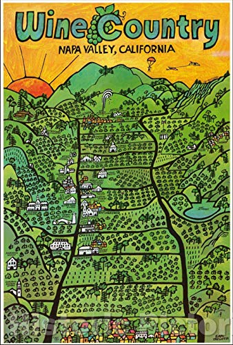 Historic Map | Wine Country Napa Valley, California, 1971, Earl Thollander | Vintage Wall Art 44in x 65in