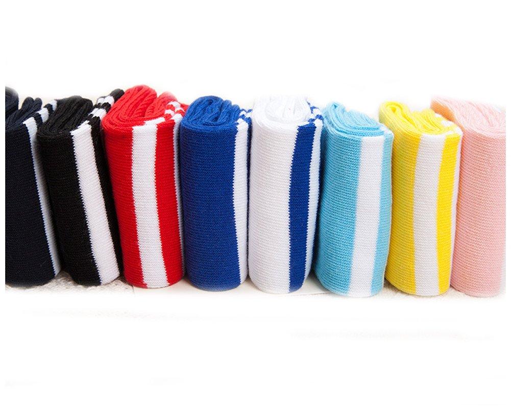 Ewandastore 1 Pair Cotton Over Knee Long Soccer Socks,Breathable Team School Socks for 4-10 Years old Kids Girls Boys Toddlers White Red