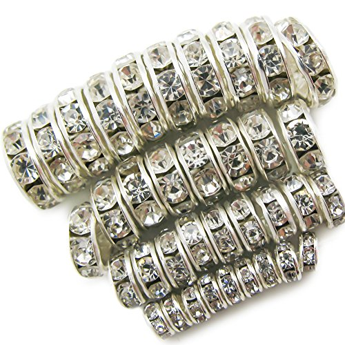 TOAOB 400pcs Crystal Clear Rondelle Spacer Beads Assorted 4mm 6mm 8mm 10mm for jewelery making (Silver Metal Spacer Beads)