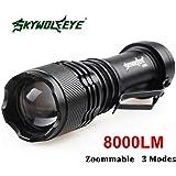 SkyWolfeye 8000 LM CREE Q5 LED Flashlight Zoomble Mini Torch Light Lamp AA 14500
