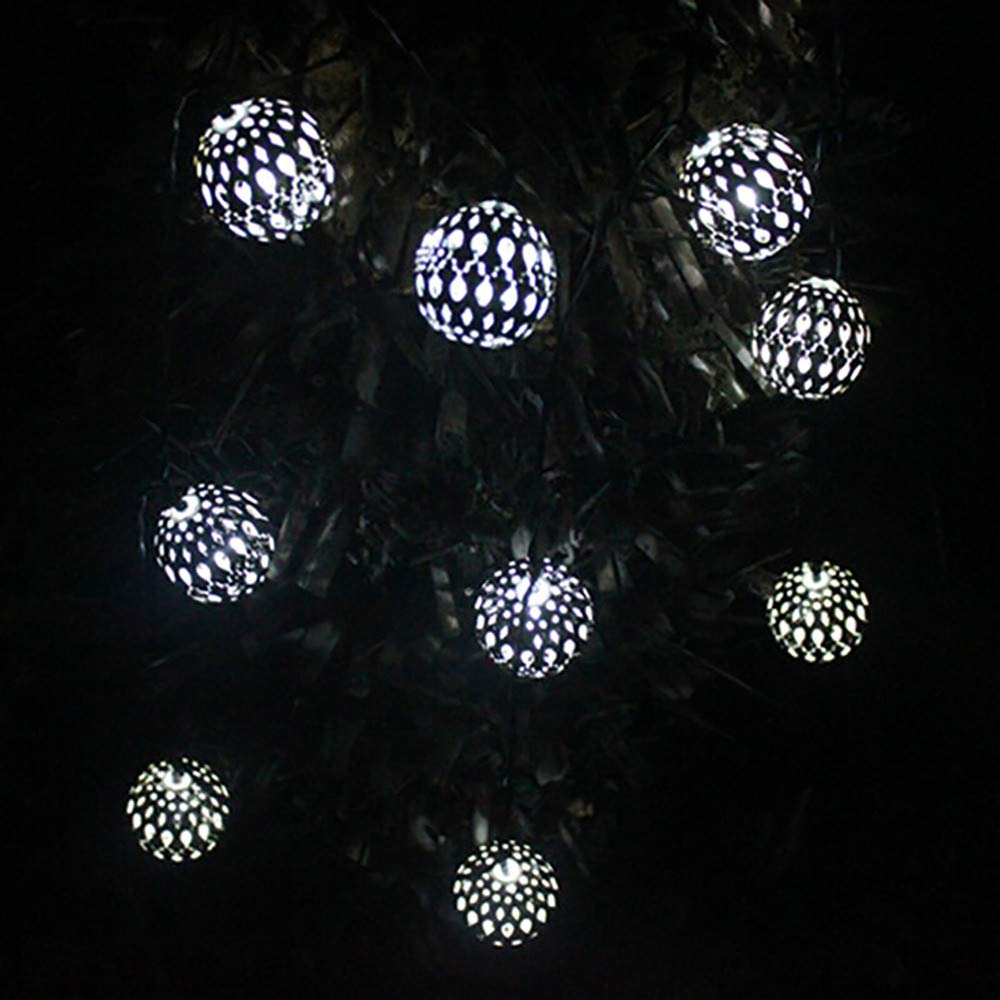 H+K+L 10LED Beads Solar Environment-Friendly Snowflake String Lights, Decoration Lughts for Home, Garden, Theme Parties (Silver)