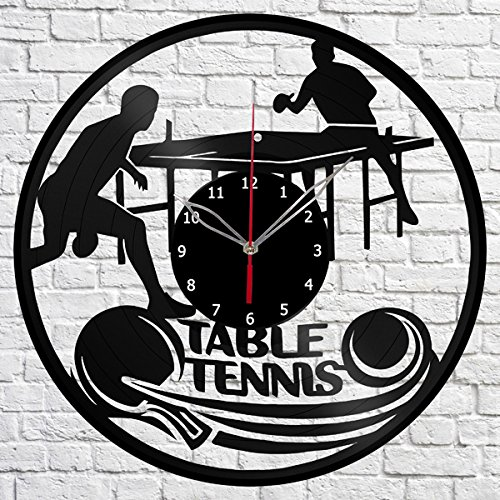 Table Tennis Sport Vinyl Record Wall Clock Fan Art Handmade Decor Original Gift Unique Decorative Vinyl Clock 12″ (30 cm) For Sale