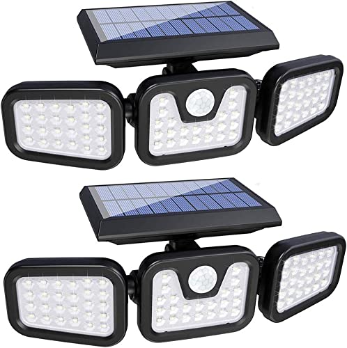 Solar Lights Outdoor,3 Head Motion Sensor Lights Solar Powered, 74 LED Security Floods Light IP65 Waterproof 270 Wide Angle Illumination Spotlights for Garden, Patio,Yard,Porch,Garage Pathway 2 Pack