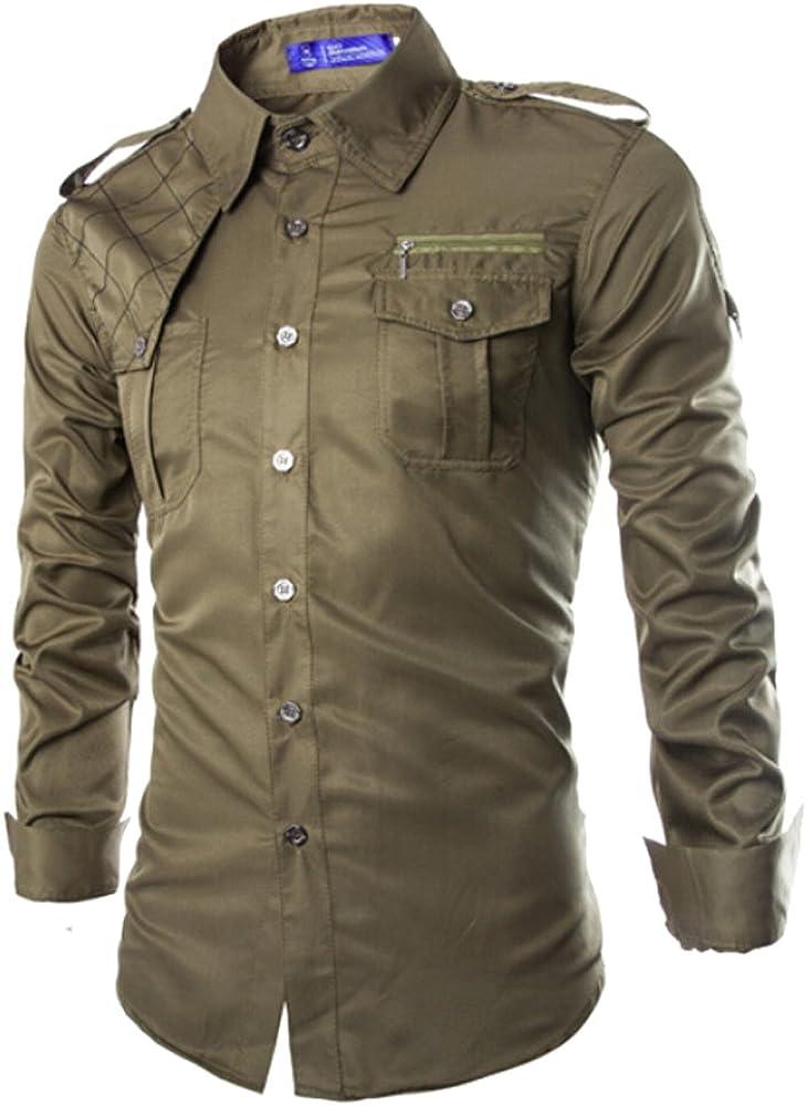 Izacu Flocc - Camisa casual - para hombre verde militar L: Amazon.es: Ropa y accesorios