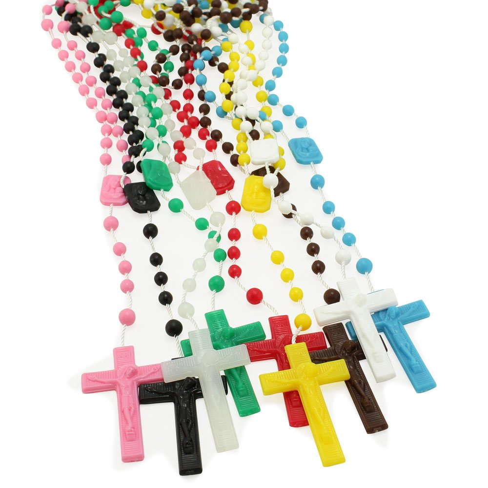 25 Pack RosaryMart Green Plastic Beads Rosary and Madonna and Child Center