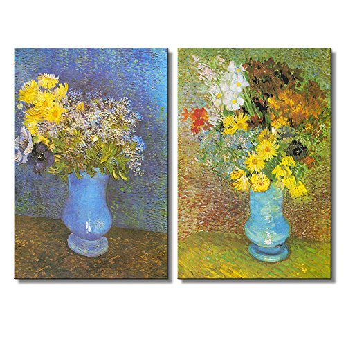 Still life of Flowers in Vase by Vincent Van Gogh Oil Painting Reproduction in Set of 2 x 2 Panels