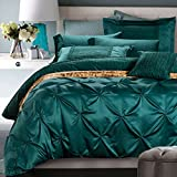 Vintage Green Duvet Cover Set Queen Silk Cotton Solid Bedding Set European Style Luxury Bedding Set Romantic Wedding Duvet Cover Set with Handcraft Pinch Pleated Design Warm Winter Duvet Cover Set