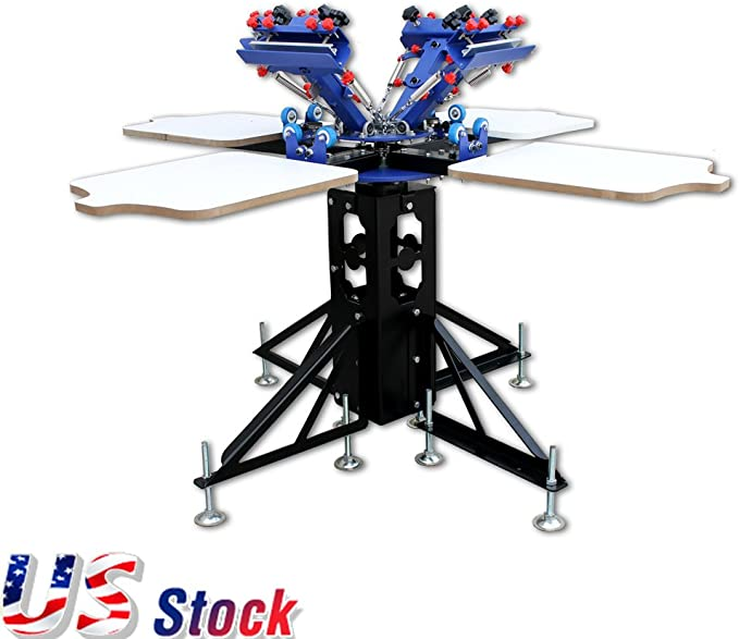 INTBUYING Screen Printing Machine Micro-adjustment 4 Color 1 Station T-shirt Silk Screen Printing Press with Floor Stand