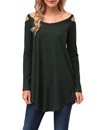 KRANDA Womens Tunic Sweater, V Neck Long Sleeve Knit A-Line ...