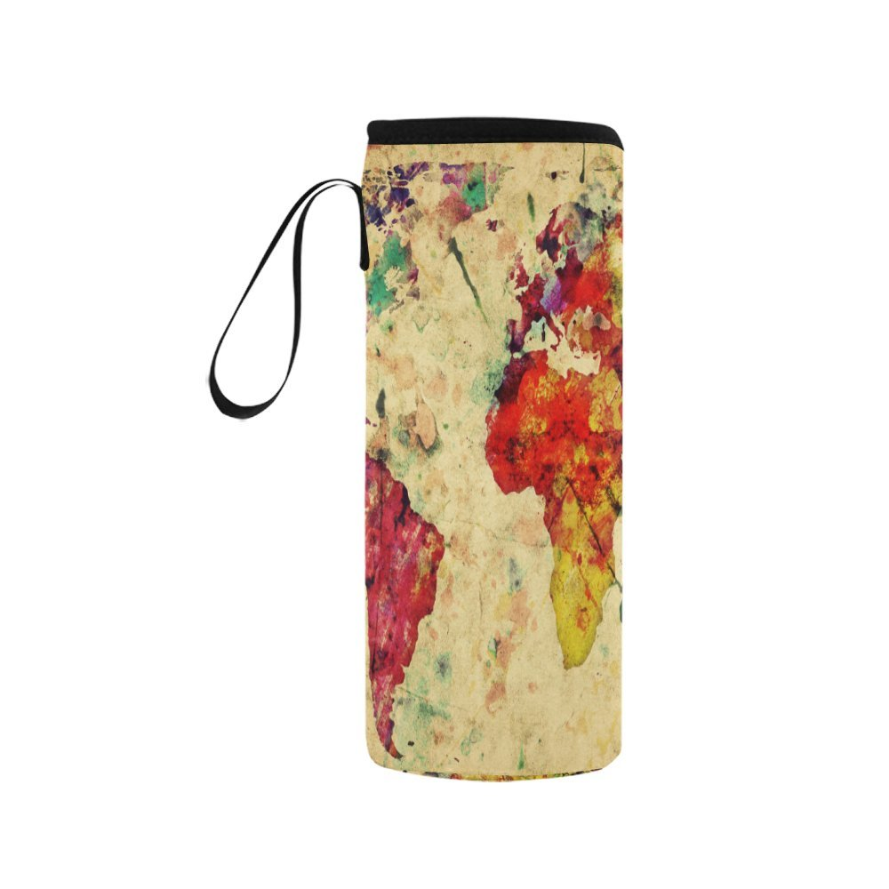 InterestPrint Vintage World Map Neoprene Water Bottle Sleeve Insulated Holder Bag 12.32oz-15.14oz, Retro Watercolor Sport Outdoor Protable Cooler Carrier Case Pouch Cover with Handle