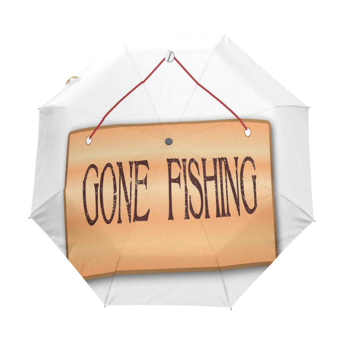 68b9806f4838d Amazon.com: DoubleCW Gone Fishing Windproof Auto Open And Close Foldable  Umbrella Travel Unbreakable Compact Sun And Rain Umbrella UV Protection