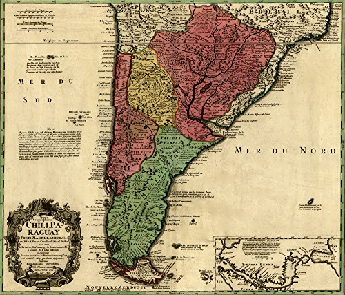 Price comparison product image Posterazzi Poster Print Collection Straits of Magellan and the Southern Countries of South America Homann Erben,  (24 x 36)