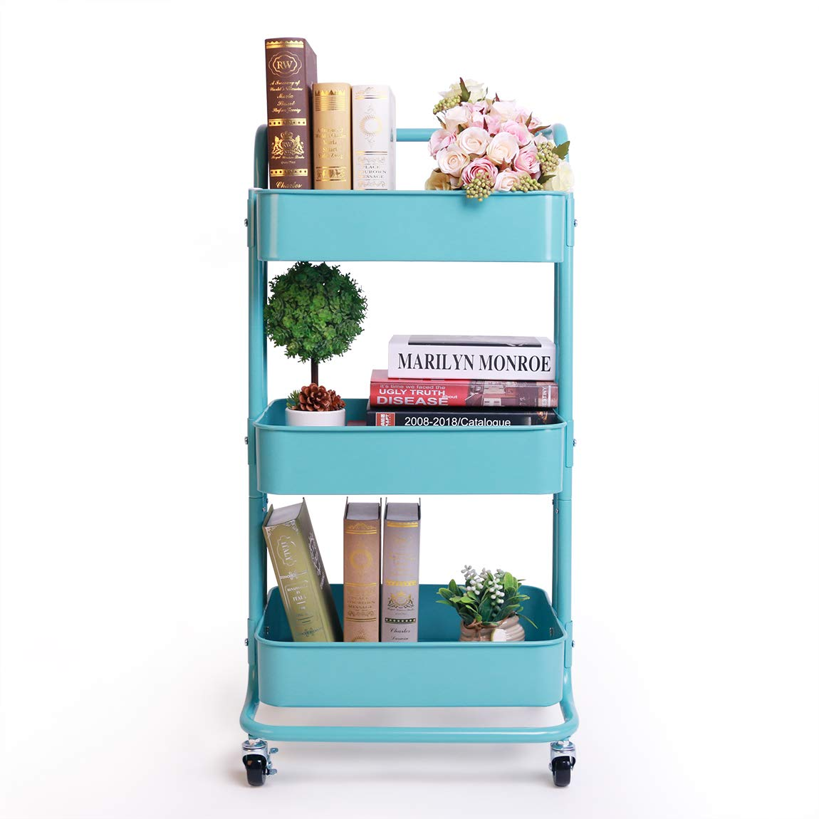 SZAT PRO 3-Tier Metal Rolling Utility Cart with Handles Turquoise