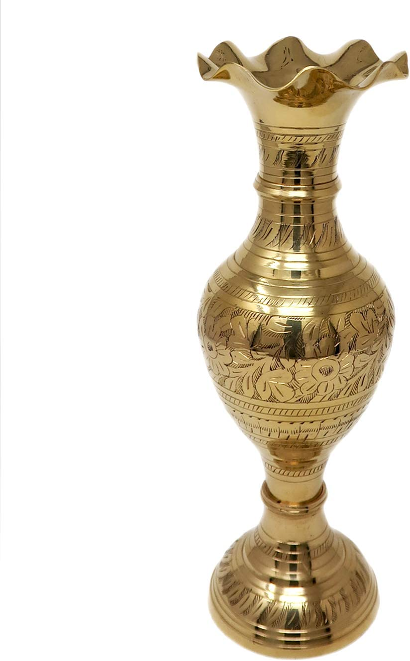 Amazon Com Brass Metal Large Flower Vase For Home Decor Living Room Corners Stylish Pure Gold Big Size 24 Inch Home Kitchen