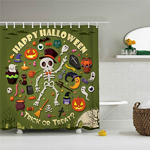 Happy Halloween Party Shower Curtains,Polyester Waterproof Shower Curtains 12 Hooks Included-69
