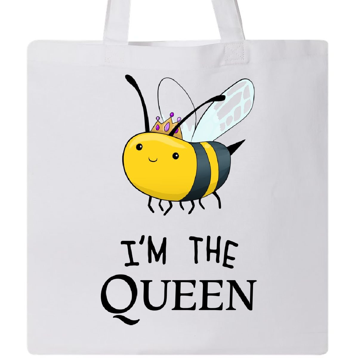 Inktastic I ' m The queen- Cute Queen Beeトートバッグ One Size B073VCP6KN ホワイト ホワイト