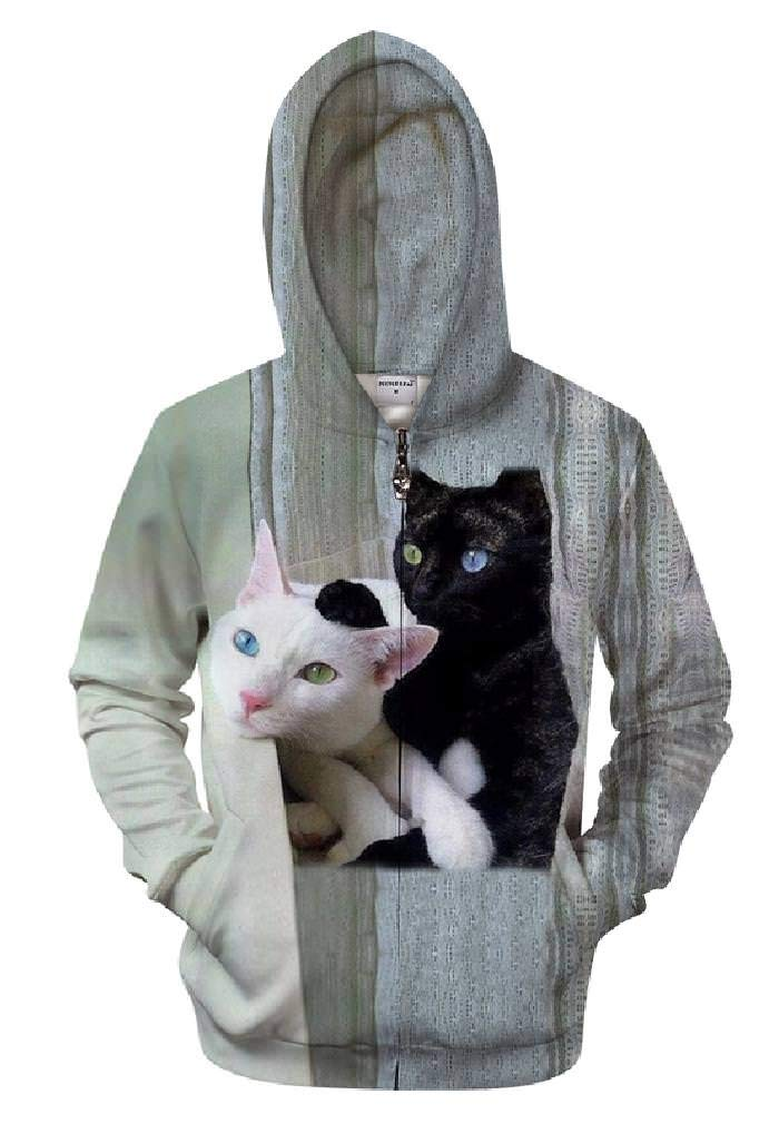 GGmar Cats Prints 3D Animal Unisex Hoody Zipper Autumn Zipper Winter Sweatshirts by GGmar