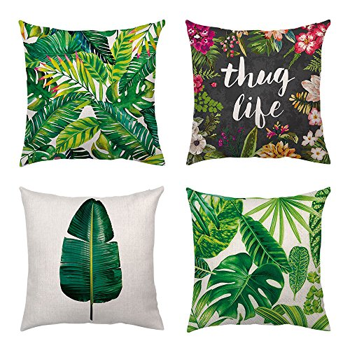 - Shenermay Modern Tropical Leaves Throw Pillow Cover Green Palm Leaf Decorative Pillows Square Cushion Covers Sofa Home Decor Cotton Linen 18 X 18 Inch 4 Packs
