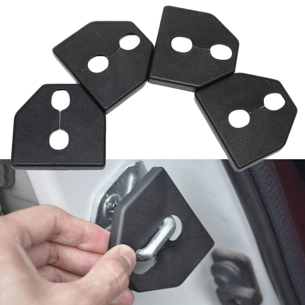 Maite For Subaru Forester Outback Legacy Impreza LIBERTY XV Car Door Lock Protective Cover Anti-corrosion Door Striker Cover Black 4Pcs