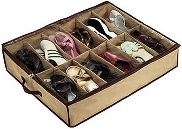 whizztec – 12 par de zapatos zapatero soporte de almacenamiento organizador bolsa caja debajo de la cama armario: Amazon.es: Hogar