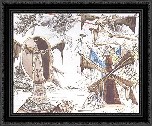 Don Quixote and the Windmills 24x20 Black Ornate Wood Framed Canvas Art by Salvador Dali