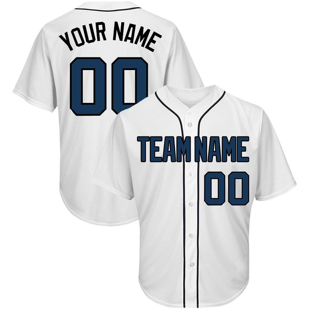 Custom Men's White Mesh Baseball Jersey with Embroidered Team Name Player Name and Numbers,Navy-Black Size S by DEHUI