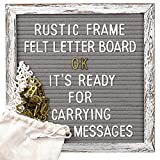 Tukuos Rustic Felt Letter Board, 752 Black & Gold & White Letters, Months & Days Cursive Words with 10x10 Inch Weathered Antique Frame, Large & Medium Letters,Double Sided