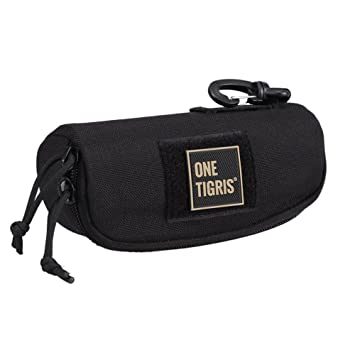 Selighting Tactical Sunglasses Carrying Case Black Military Molle Zipper Eyeglasses Hard Case with Clips